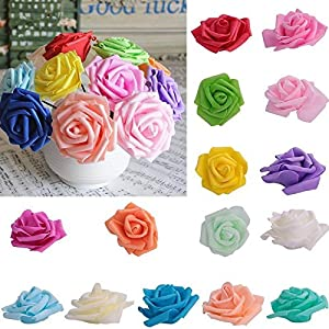 KICODE Rose Flowers Bouquet Foam Artificial Pack of 50 2.4in 14 Colors 36