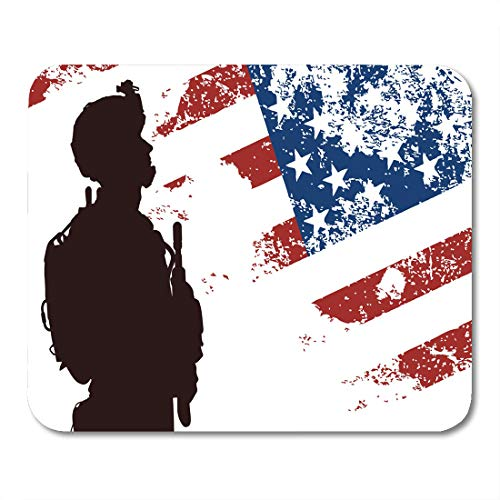 - Emvency Mouse Pads Blue Military Us Soldier The American Flag on Red Mouse Pad for notebooks, Desktop Computers mats 16