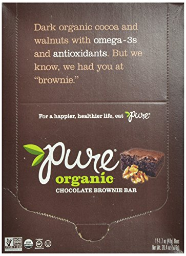 Pure Bar Organic Chocolate Brownie, sans gluten, Raw, végétalienne, Bars 1,7 onces (pack de 12)