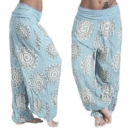 Length Stretch Trousers - Sunfei Yoga Pants,Womens Loose Print Ladies Harem Full Length Pants Trouser Wide Leggings Plus Size (Sky Blue, XXXX-Large)