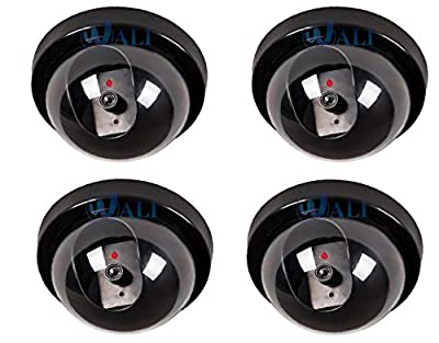 WALI 4 Pack Dummy Fake Security CCTV Dome Camera with Flashing Red LED Light with Warning Security Alert Sticker Decals by WALI