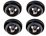 #5: WALI 4 Pack Dummy Fake Security CCTV Dome Camera with Flashing Red LED Light with Warning Security Alert Sticker Decals