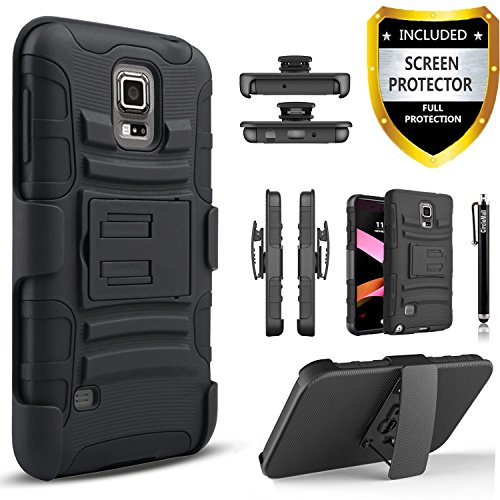 Galaxy S5 Active Case, Dual Layers [Combo Holster] Case And Built-In Kickstand Bundled with [Premium HD Screen Protector] Hybird Shockproof And Circlemalls Stylus Pen[Black]