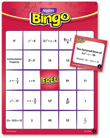 algebra bingo game manipulative