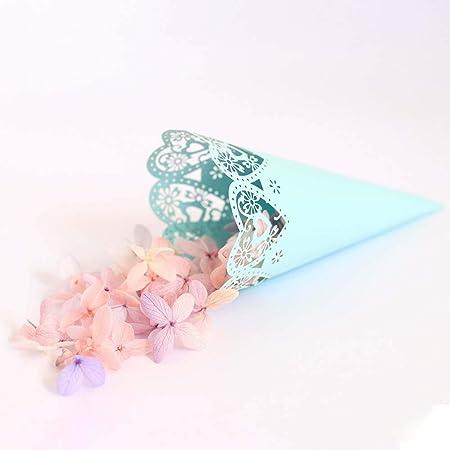 Sumshy 100 Conos portapeladillas de Color Blanco, para Bodas, bautizos, cumpleaños, comuniones, bautizos y Baby Shower.