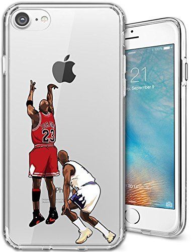 iPhone 7 Case, Elite Cases Ultra Slim [Crystal Clear] [NBA Player] Soft Transparent TPU Case Cover & Custon Elite Cases Microfiber Pouch for Apple iPhone 7 (4.7) - Michael