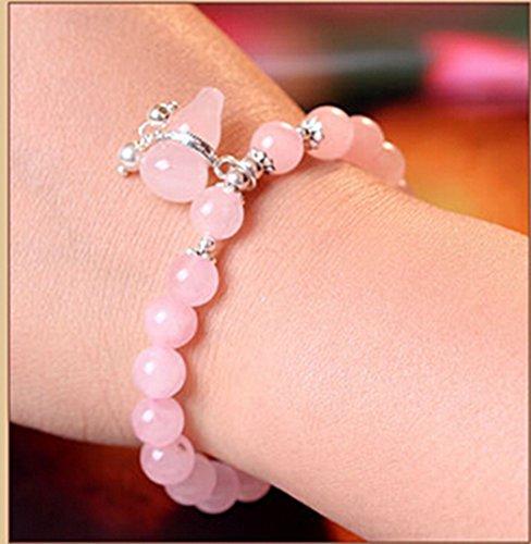S925argent sterling 8mm boule Rose naturel Cristal stretch Perles Bracelets Bijoux tendance pour femme