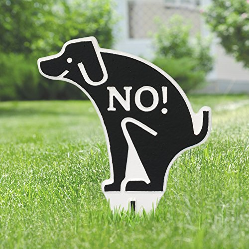 Whitehall No Poop Dog Silhouette Cast Aluminum Yard Sign (White/Black) (Dog Whitehall)