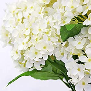 123 TEST 4PCS Artificial Flowers Plastic Silk Artificial Fake Hydrangea Flowers Silk Bouquet for Wedding, Room,Home, Hotel,Party,Office, Garden Craft Art Decoration (White) 5
