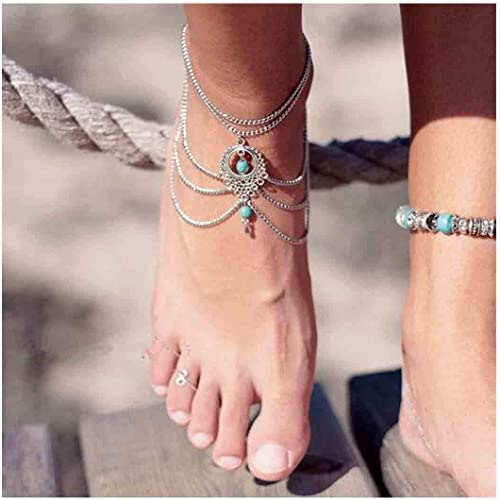 Women Gold Silver Plated Toe Ring Ankle Bracelet Chain Foot Jewelry Ank  .