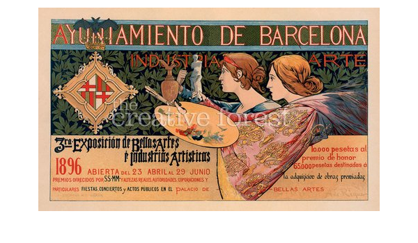 Barcelona Industria Arte 1896 Vintage Art Nouveau Poster Reproduction Rolled Canvas Print 40x24 In Posters Prints