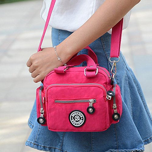 Resistant Body Bag amp; Water Tiny Nylon Solid Mini Shoulder for Cross Red Girls Chou Handbag Color Women xqPzXq