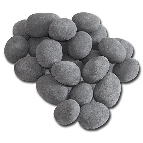 Able Ceramic Fiber Product 24pcs/set Ceramic Pebbles Firestones For Fire Pit Pebbles Fireplace Stones, Factory Wholesale Retail Price (Grey)