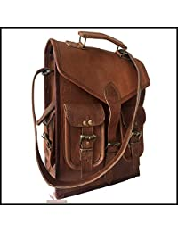Messenger Bag Genuine Brown Goat Leather Backpack Rucksack Vintage Travel Handmade Bag Laptop Shoulder Bag College Bag Briefcase Satchel Gym Bag 18H x 13L Inch