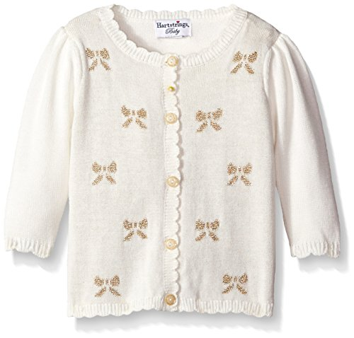 Hartstrings Baby-Girls Embroidered Bow Cotton Cardigan Sweater, Marshmallow, 0-3 Months (Hartstrings Cotton Cardigan)