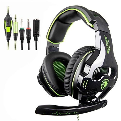 Sades Stereo Gaming Headsets for New Xbox One,PS4 Noise Cancelling Over Ear Headphones with Mic, Bass Surround,Soft Memory Earmuffs for PC   Laptop Mac Mobile (Black and Green) (Minecraft Computer For The)