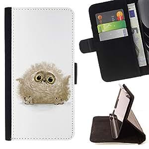 Momo Phone Case / Flip Funda de Cuero Case Cover - Baby Bird Fluffy Búho Gris Ojos Grandes lindo - Sony Xperia Z3 D6603