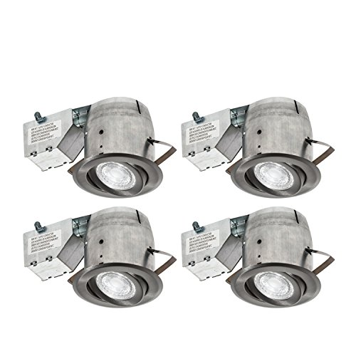 Nadair CP378L-PR4BN 4 Pack 4in LED Swivel Dimmable Recessed Downlight, 3000K, 4 X LED PAR20 630 Lumens Bulbs Included, IC rated, Brushed - Junction Box Adapter