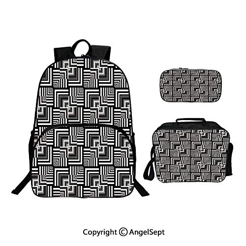 School Backpack With Lunch Bag Pencil Bag One Set,Geometric Op Art Pattern Unusual Checked Optical Illusion Effect Modern Black White,Lightweight Laptop Bag For Teen Boys And Girls