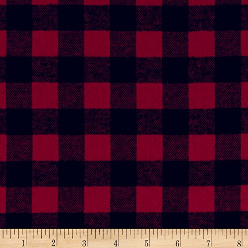 Yarn Dyed Flannel Check Red Black Fabric By The Yard (Plaid Red Fabric Flannel)