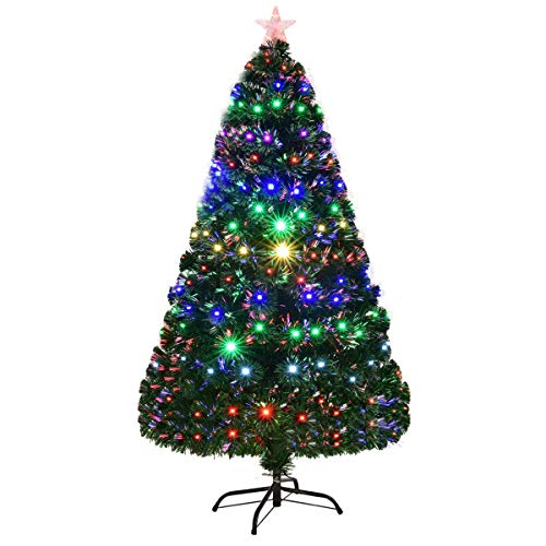 Goplus 6FT Artificial Christmas Tree Pre-Lit Optical Fiber Tree 8 Flash Modes W/UL Certified Multicolored LED Lights & Metal Stand (Pre Lit Artificial Christmas Trees On Sale)