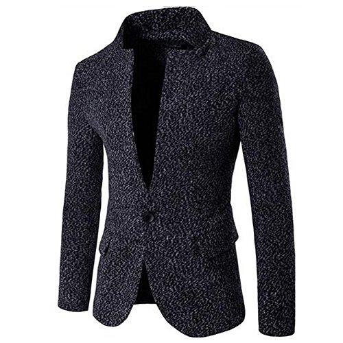 Jinsey Men's Fashion Stand Collar One Button Slim Fit Blazer Jacket - Black (Tweed Fitted Blazer)