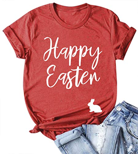 EGELEXY Happy Easter T Shirts Women Funny Bunny Letter Print Short Sleeve Casual Loose Tee Tops Size S ()