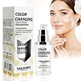 Flawless Color Changing Foundation Warm Skin Foundation Cover Makeup Concealer Cover Foundation Fit for All Skin Types Makeup Foundation with SPF15+ Natural Face Makeup Cream - 40ml