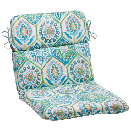 Pillow Perfect Indoor/Outdoor Summer Breeze Rounded Chair Cushion, Pool (Patio Furniture Breeze)