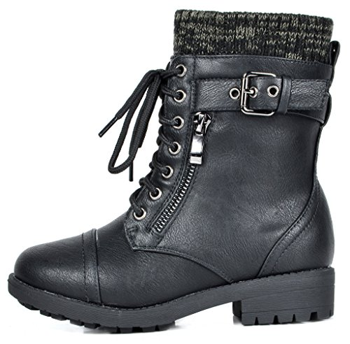 DREAM PAIRS Little Kid Amazon-K Black Girl's Mid Calf Combat Boots Size 1 M US Little Kid by DREAM PAIRS (Image #1)
