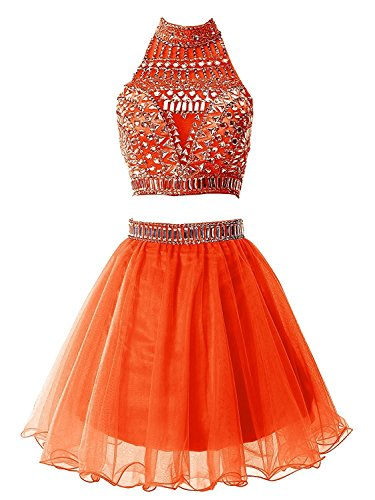 Short Orange Dress Party Chupeng Crystal Dress Prom Halter Two Homecoming Piece vTnBwFBAqP
