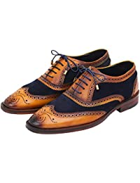 Wingtip Brogue Oxford Handcrafted Men's Genuine Leather Lace up Dress Shoes