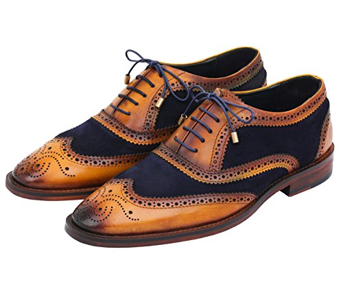 Lethato Wingtip Brogue Oxford Handcrafted Men's Genuine Leather Lace Up Dress Shoes (8.5-9 US, Navy Blue) , Navy Blue , 8.5 - 9 US ()