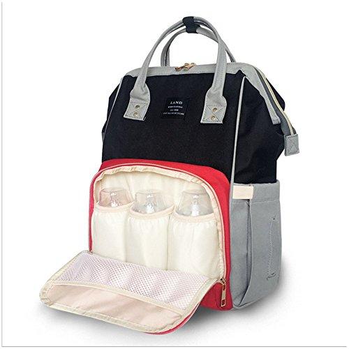Mommy Bag–Fashion Multicolor y capacidad mochilas Black+red Black+red
