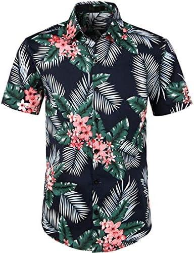LFNANYI Para Hombre Camisa Hawaiana de Playa de Manga Corta Moda Estampado Floral Camisa de algodón Hombres Casual Fit Camisas con Botones: Amazon.es: Deportes y aire libre