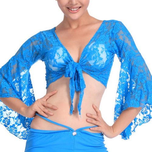 [BellyLady Tribal Belly Dance Lace Butterfly Sleeve Wrap Top, Top For Christmas LAKEBLUE] (Dance Hire Costumes)