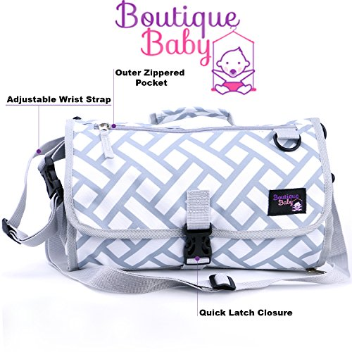 Boutique Baby Portable Diaper Changing Pad Station Waterproof Extra Long  Travel Clutch ()