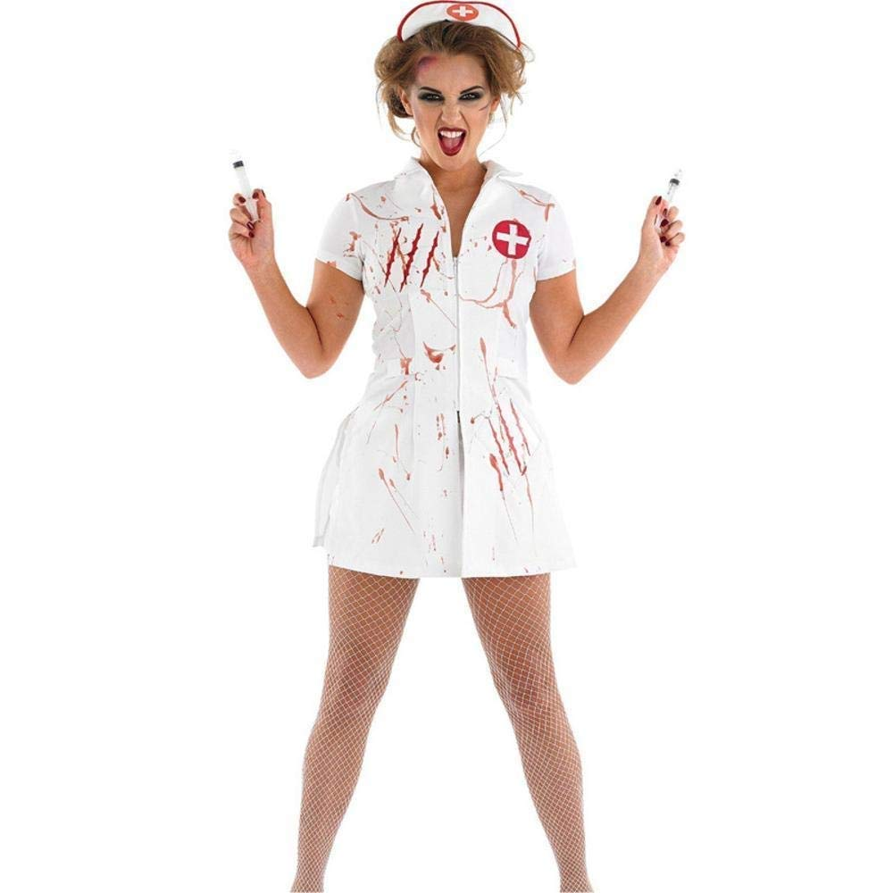 Medium FashionCos1 Nurse Sexy Cosplay Costume Halloween Party Wear White Scary Blood Role Play Games Zombie Disguise Fancy Female Dress Adult Witch Princess Dress (Size   M)