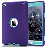 iPad Mini 4 Case,Walle Shop® Hybrid Heavy Duty Shockproof Rugged Bumper Three Layer Impact Resistant Armor Defender Full Body Protective Case Cover for Apple iPad Mini 4 7.9 inch 2015 (purple+green)