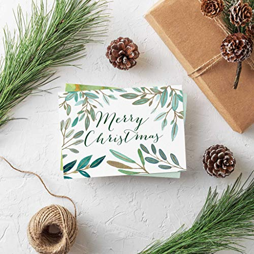 Watercolor Green Gold Christmas Cards - 24 Folded Cards with Envelopes   Beautiful Watery Green Painted Holiday Cards Christmas & New Years Cards   Blank Inside   Bulk Wholesale Box Made in the USA
