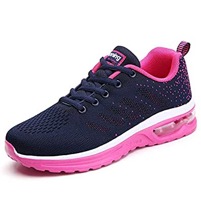 TSIODFO Women Sport Running Shoes Mesh Breathable Comfort Athletic Walking Shoes Ladies Gym Workout Jogging Tennis Sneakers Blue Rose Red Size 5(833-blue Rose red-35)