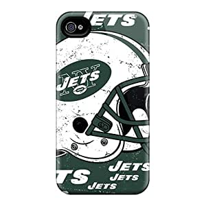 Iphone 4/4s BiH17468kBaG Unique Design High Resolution New York Jets Pattern Scratch Protection Hard Phone Covers -JonBradica
