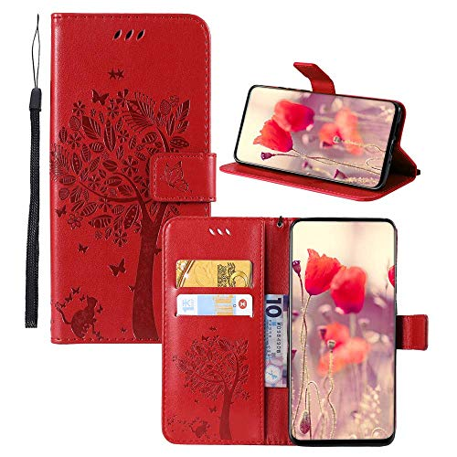 Phone Ace - Galaxy J1 Ace (5) PU Leather Wallet Case,IVY [Embossed Cats and Trees] Phone Accessories Wallet Folio Cover for Samsung J1 Ace SM-J110 - Red