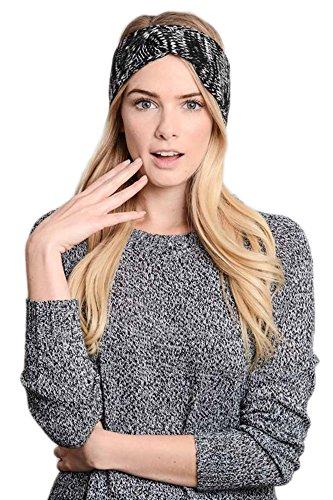 LETO Women's Versatile Crochet Bow Knit Marl Warm Hair Band Headband Ear Warmer (One size, 112_BLACK)