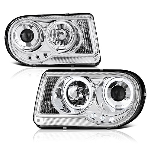 300c Halo Led Projector Headlights - [For 2005-2010 Chrysler 300C Halogen Model] LED Halo Ring Chrome Projector Headlight Headlamp Assembly, Driver & Passenger Side