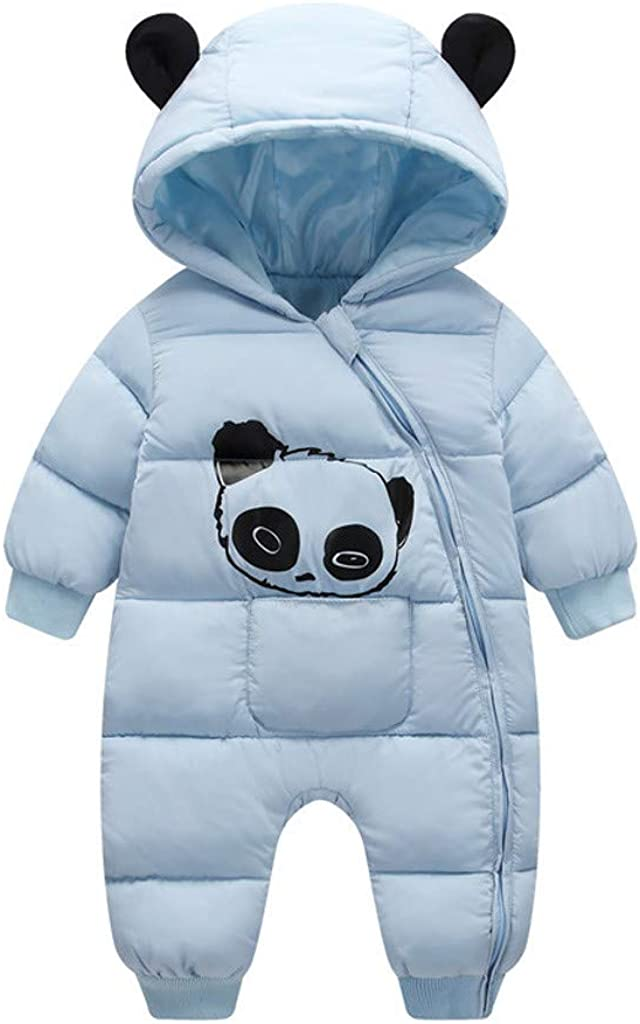Lankcook Rompers Newborn Baby Boy Girl Cartoon Winter Warm Thick Jumpsuit Hooded Coat Outwear Autumn Winter