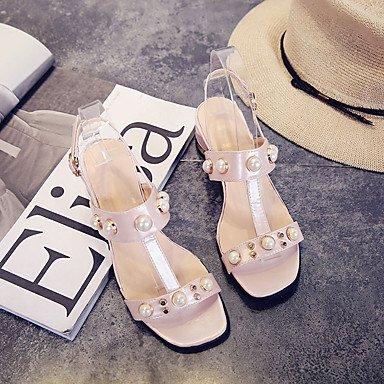 LvYuan Mujer Sandalias PU Primavera Verano Perla de Imitación Hebilla Tacón Robusto Blanco Negro Rosa 5 - 7 cms Black