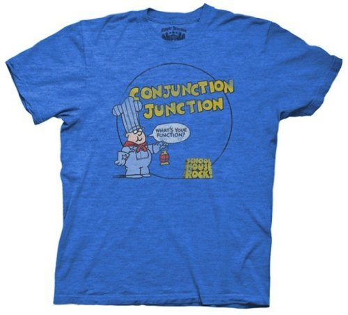 Schoolhouse Rock Conjunction Junction Royal Blue Heather Adult T-shirt Tee (Adult (Conjunction Junction)