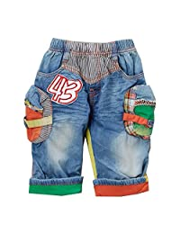 Rock'nStyle Baby Boys Blue Multi Color Patch Folded Cuff Denim Shorts 18-24M