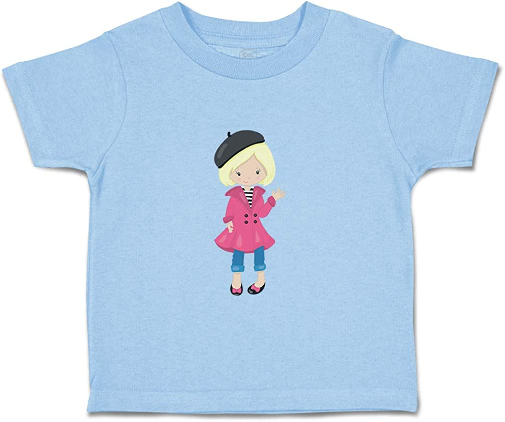 Custom Baby /& Toddler T-Shirt French Girl Pink Coat Blonde Boy Girl Clothes
